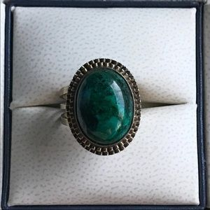 Chrysocolla 925 Gold Gilt Ring